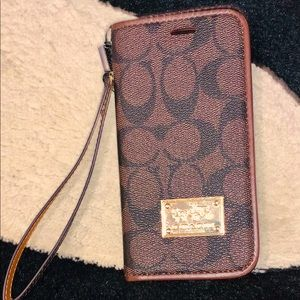 Leather coach iPhone XR wallet case